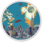 New York America  Skyline - Manhattan Round Beach Towel