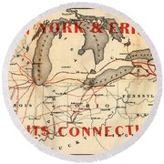 New York And Erie Railroad Map 1855 Round Beach Towel