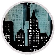 New York Art Deco Round Beach Towel