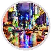 New York At Night - 14 Round Beach Towel