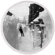 New York: Blizzard Of 1888 Round Beach Towel