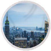 New York Blues Round Beach Towel