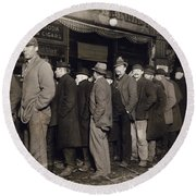 New York: Bread Line, 1907 Round Beach Towel