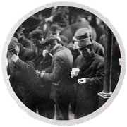 New York: Bread Line, 1915 Round Beach Towel