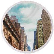 New York Buildings Round Beach Towel