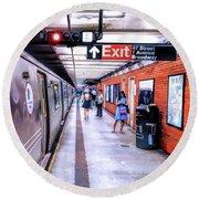 New York City Broadway Subway Station Round Beach Towel
