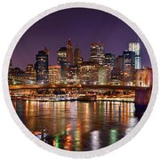New York City Brooklyn Bridge And Lower Manhattan At Night Nyc Round Beach Towel