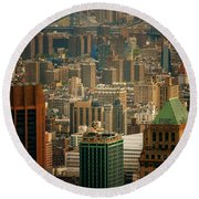 New York City Buildings And Skyline Round Beach Towel