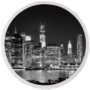 New York City Bw Tribute In Lights And Lower Manhattan At Night Black And White Nyc Round Beach Towel