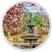 New York City Central Park Bethesda Fountain Blossoms Round Beach Towel