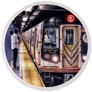 New York City Charles Street Subway Station Round Beach Towel