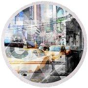 New York City Geometric Mix No. 9 Round Beach Towel by Melanie Viola