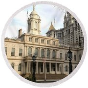 New York City Hall Round Beach Towel