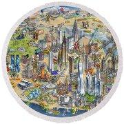 New York City Illustrated Map Round Beach Towel