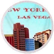 New York City- Las Vegas Round Beach Towel