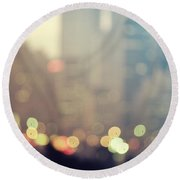 New York City Lights At Dusk Round Beach Towel