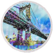 New York City Manhattan Bridge Blue Round Beach Towel