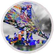 New York City Manhattan Bridge Pure Pop Blue Round Beach Towel
