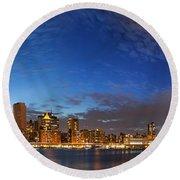New York City Manhattan Skyline Panorama Round Beach Towel