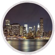 New York City - Manhattan Waterfront At Night Round Beach Towel
