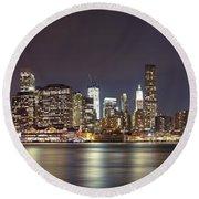 New York City - Manhattan Waterfront At Night Round Beach Towel