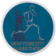 New York City Marathon3 Round Beach Towel