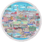 New York City On A Sunny Day Round Beach Towel