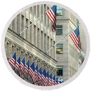 New York City Patriotism Round Beach Towel