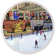 New York City Rockefeller Center Ice Rink Round Beach Towel