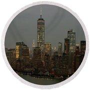 New York City Skyline Aerial - Lower Manhattan Round Beach Towel