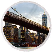 New York City Skyline Round Beach Towel