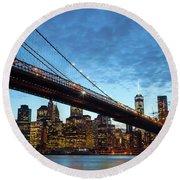 New York City Skyline By Night Round Beach Towel