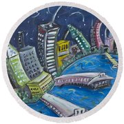 New York City Skyline Hoboken Round Beach Towel