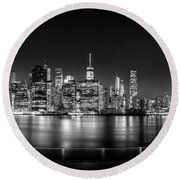 New York City Skyline Panorama At Night Bw Round Beach Towel