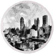 New York City Skyline Sketch Round Beach Towel