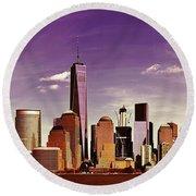 New York City Skyline Round Beach Towel
