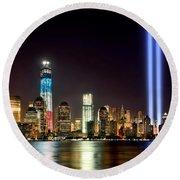 New York City Skyline Tribute In Lights And Lower Manhattan At Night Nyc Round Beach Towel
