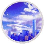 New York City Skyline With Freedom Tower Round Beach Towel