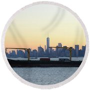 New York City Skyline With Passing Container Ship Round Beach Towel