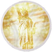 New York City Statue Of Liberty With American Banner - Golden Painting Round Beach Towel