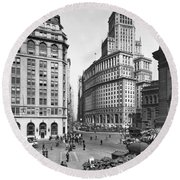 New York City Street Scene Round Beach Towel