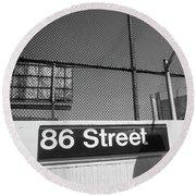 New York City Subway 86 Street Round Beach Towel by Ranjay Mitra