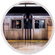 New York City Subway Cars Round Beach Towel