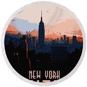 New York City Sunset Round Beach Towel