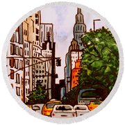 New York City Taxis Round Beach Towel