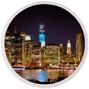 New York City Tribute In Lights And Lower Manhattan At Night Nyc Round Beach Towel