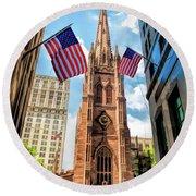 New York City Trinity Church Round Beach Towel
