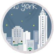 New York City Vertical Skyline - Empire State At Dusk Round Beach Towel