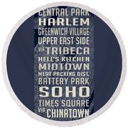 New York City Vintage Subway Stops With Map Round Beach Towel