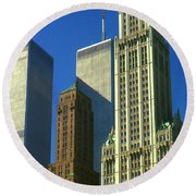 New York City - Woolworth Building And World Trade Center Round Beach Towel